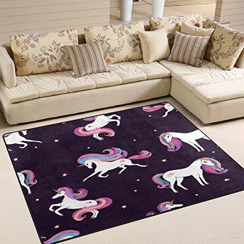 ALAZA Beautiful Cartoon Unicorn Star Area Rug Rugs for Living Room Bedroom 7' x 5'