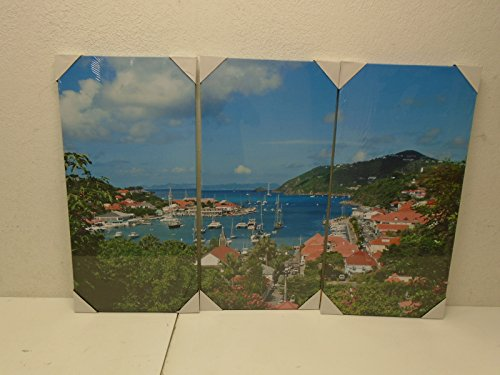 as Painting Wall Art The Picture For Home Decoration Gustavia Harbor, St. Barths, French West Indies Caribbean Place Seaside Print On Canvas Giclee Artwork For Wall Decor (Seaside 3 Piece)