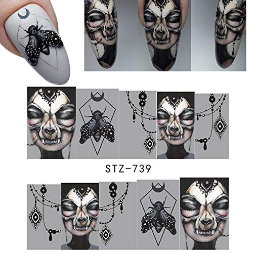 Halloween Eyes Nail Art (25 Sheets Halloween Nail Stickers - Water Transfer Nail Decals Grimace Skull Eye Spider Nail Art DIY Decals for Halloween)