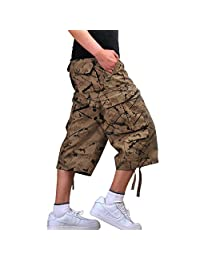 Yollmart Men's Camo Shorts Casual Military Combat Cargo Trouser
