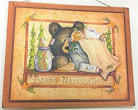 Bear Necessities Wooden Country Bathroom Wall Art Sign Bath Decor Outhouse  Theme