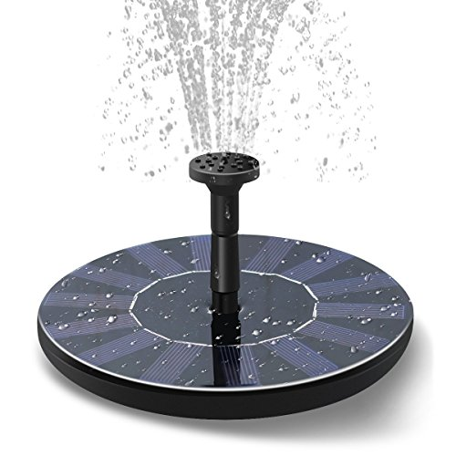 Acsuss Solar Fountain, Free Standing 1.5W Solar Panel Water Floating Pump Kit with 4 Nozzles Spray, Solar Powered Fountain Pump for Bird Bath Garden and Patio