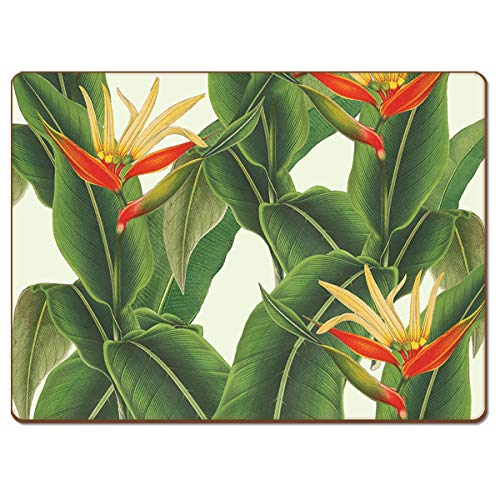 Cala Home 4 Premium Hardboard Placemats Table Mats, New York Botanical Gardens Heliconia