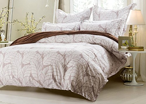Leaf Design Set (5pc Beige Leaf Design Duvet Cover Set Style # 1009 - Full/Queen - Cherry Hill Collection)
