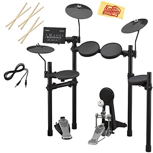 Yamaha DTX452K Electronic Drum Set Bundle with Drum Sticks, Aux Cable, and Austin Bazaar Polishing -