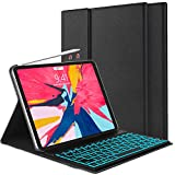 iPad Keyboard Case for iPad Pro 11 inch 2018, Protective Smart Case with Detachable 7 Colors Backlit Wireless Bluetooth Keyboard for iPad Pro 11'' [Support Apple Pencil 2nd Gen Charging] -Black