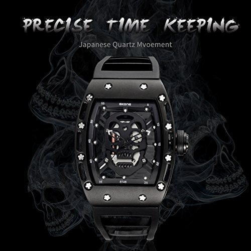 Skone Steampunk Skeleton Pirate Watch Men Skull Hollow Designer Cool Unique Fashion Style Quartz Wristwatch Silicone Sports Christmas Gift
