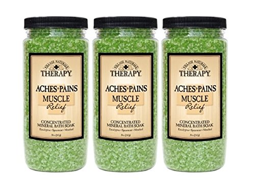 Village Naturals Therapy Aches & Pains Muscle Relief Mineral Bath Soak 20 Oz - Natural Mineral Soak Salts