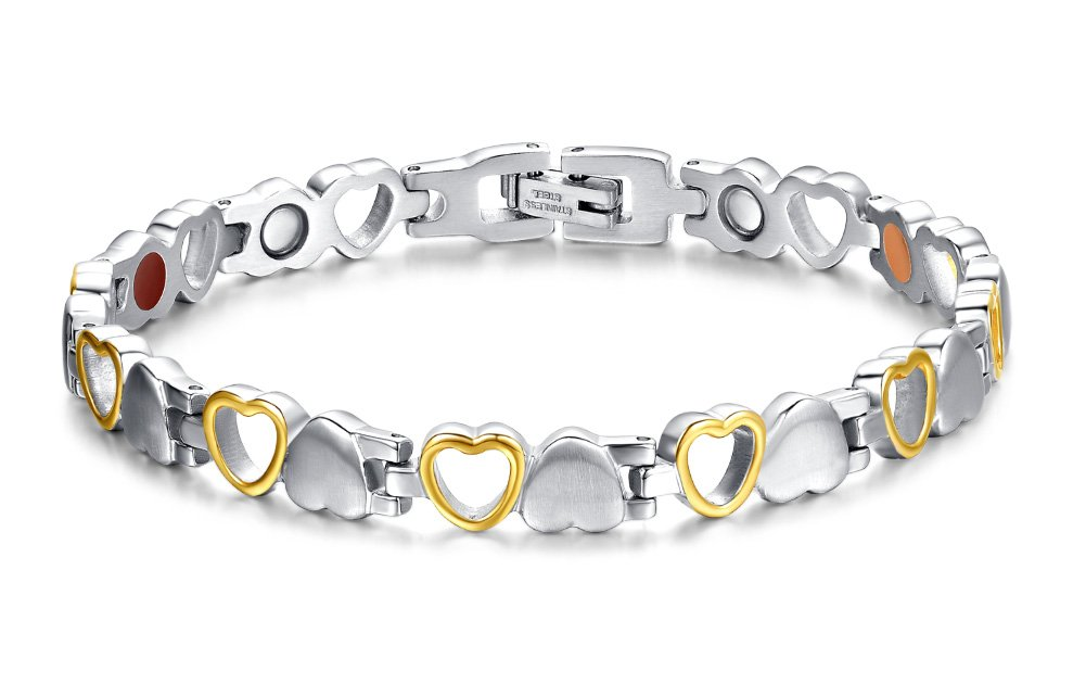 chaninely Magnetic Therapy Bracelet Titanium Magnet Bracelets for Women Arthritis and Joint Pain 8.3'' Silver Gold Adjustable