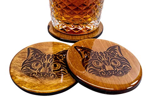 Hand Made Cat Coaster Set - 4 3.5