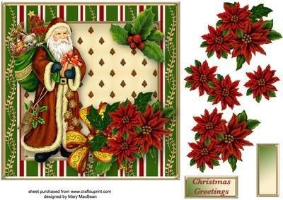Vintage Santa decoupage card anteriore di Mary Macbean Craftsuprint