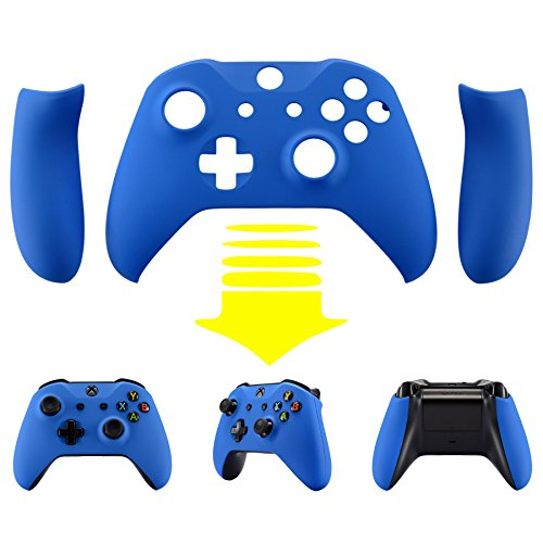 (eXtremeRate Blue Soft Touch Top Shell Front Housing Faceplate Replacement Parts with Side Rails Panel for Microsoft Xbox One X & One S Controller)
