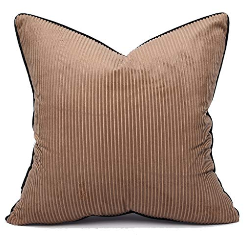 Yinnazi Square Throw Pillow Cover Decorative Soft Velvet Corduroy Striped Cushion Cover for Couch Set of 2 18 x 18 inch Taupe