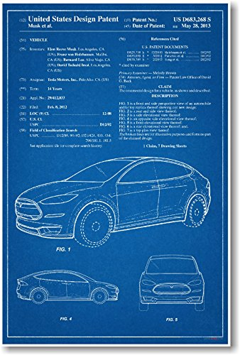 Tesla Model X Patent - NEW Famous Invention Patent Poster