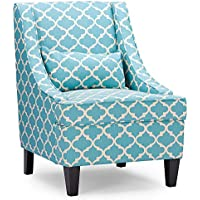 Baxton Studio Lotus Contemporary Fabric Armchair, blue