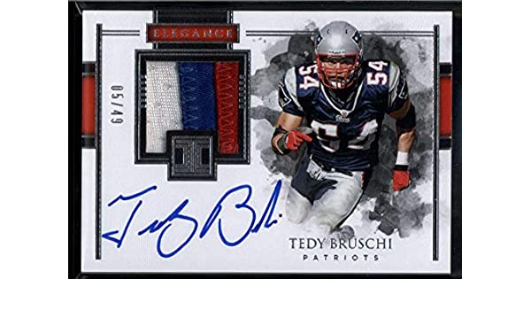 e67a0d0b Amazon.com: Tedy Bruschi Auto /49 Jersey Patch 2018 Panini Impeccable New  England Patriots: Collectibles & Fine Art