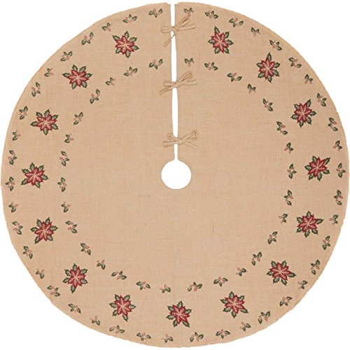 VHC Brands Holiday Decor-Jute Burlap Tan Poinsettia Tree Skirt, 60 ()