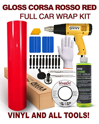 VViViD Complete Gloss Vinyl Car Wrap Kit Including All Tools (Full SUV Wrap Kit (75ft), Rosso Corsa Red)