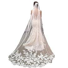 New Elegant 1T White Ivory Lace Edge Cathedral Length Wedding Bridal Veil+Comb