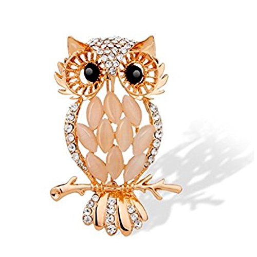 JewelBeauty Gold Plated Full Inlay Crystal Cute Green Eyes Rhinestones Owl Lovely Animal Brooch and Pin