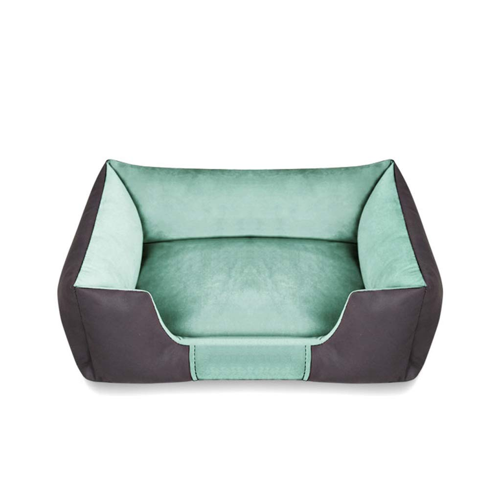 Green LargeYSNUK Pet bed Square Pet Mattress Pillow Cat Bed Basket Detachable And Washable Wear Resistant Scratch Comfortable, luxurious, warm (color   Green, Size   L)