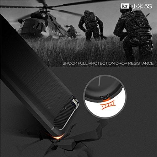 Funda XIAOMI Mi 5,Alta Calidad Anti-Rasguño y Resistente Huellas Dactilares Totalmente Protectora Caso de Cover Case Material de fibra de carbono TPU Adecuado para el XIAOMI Mi 5 D