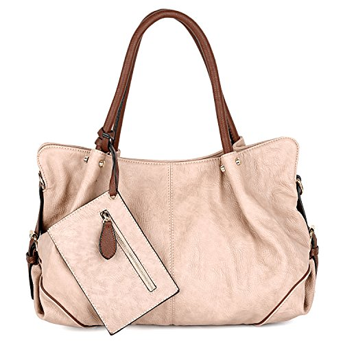 UTO Women Hobo Purse 3 Pieces Handbag Set PU Leather Tote Bag Satchel Shoulder Bags with Wristlet Wallet (Zip Shoulder Satchel)