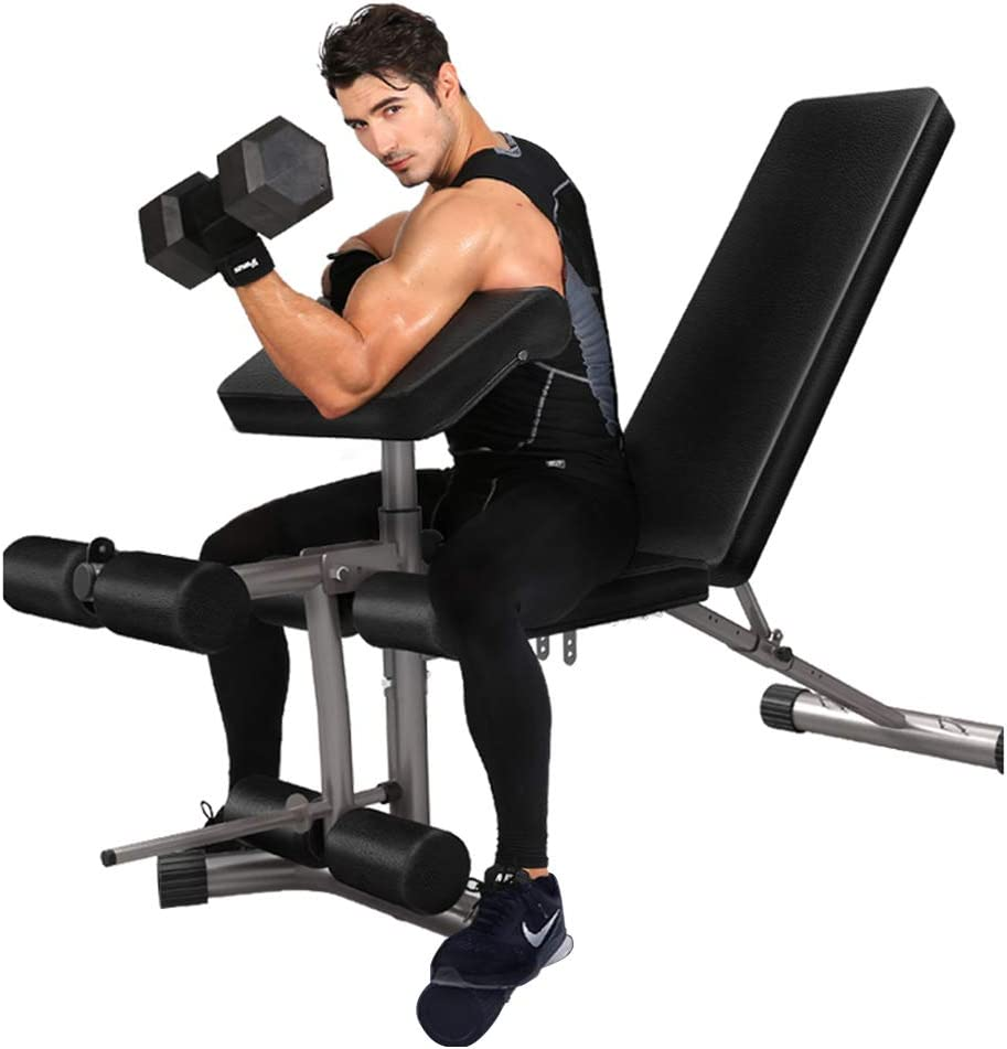 ダンベルスツール多機能ベンチプレス調節可能なフィットネスチェアダンベルベンチ座って姿勢キックトレーナー家庭用フィットネス機器 トレーニングベンチ (Color : 黒, Size : 171 * 65 * 47cm) 黒 171*65*47cm