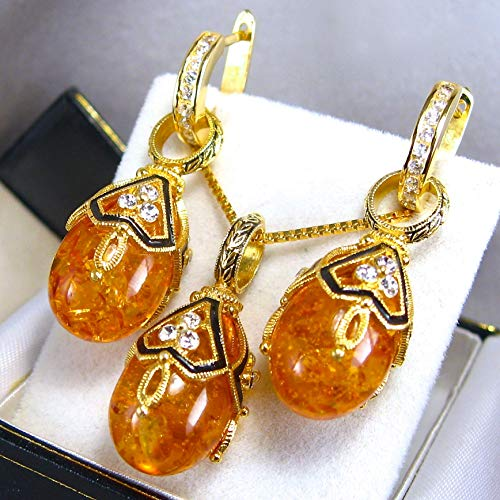 AMBER JEWELRY SET Russian Faberge Style Eggs Pendant/Earrings, 925 Sterling Silver, Swarovski Crystals, 24k Gold Vermeil, Enamel, Silver Hoops with Cubic Zirconia, Gift Jewelry for Woman Girls