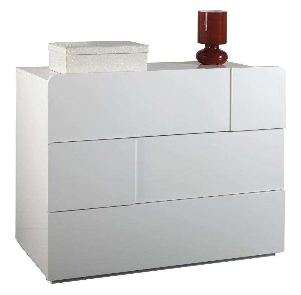 Comò con tre cassetti laccato bianco lucido: Amazon.it: Casa e cucina