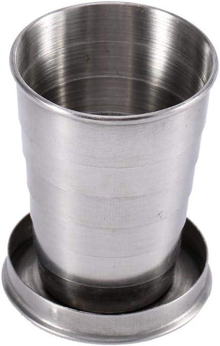 Taza Plegable de Acero Inoxidable S / M / L, Taza De Metal Superior Bebida Apilable Viaje Al Aire Libre Taza Plegable Telescópica Camping Senderismo Botella Plegable Taza Contenedores(M)