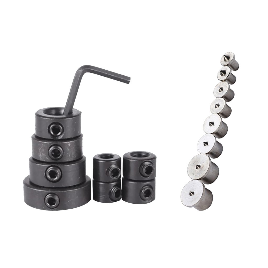 Fenteer Drill Bit Depth Stop Collar (3, 4, 5, 6, 8, 10, 12, 16mm) + Hex Wrench + Dowel Centre Points Pin (6/8/ 10/ 12mm)