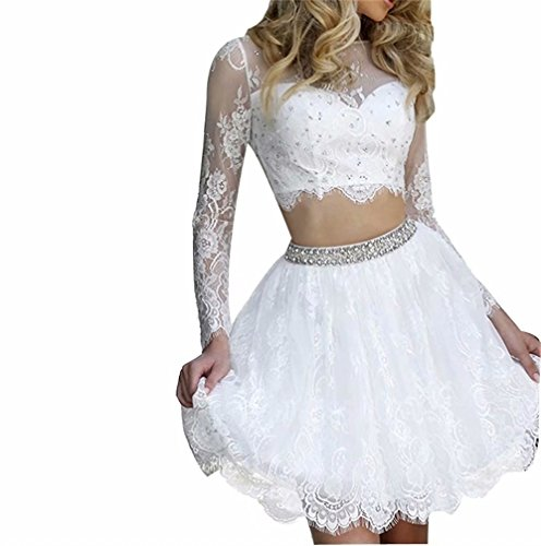 2abc362f804 Scarisee Women s Long Sleeves Beaded Lace Two Pieces Homecoming Dress Short  Mini Prom Party Gown White