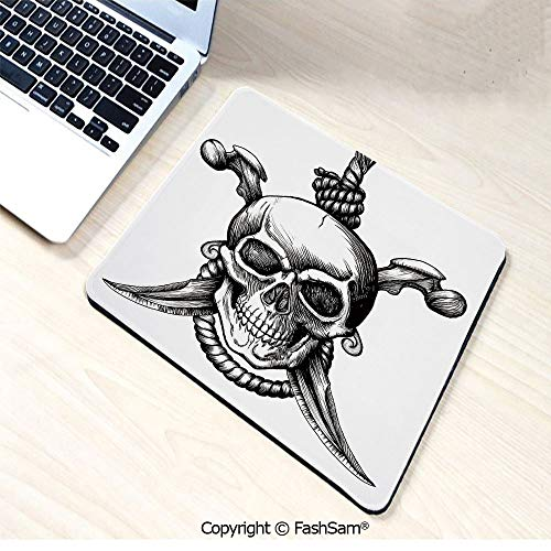 Desk Mat Mouse Pad Jolly Roger Skull with Two Knifes Bones and Hanging Rope Gothic Criminal Halloween Decorative for Office(W7.8xL9.45) ()
