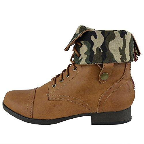 Bottines Femmes Camouflage Doublure Lace Up Chaussures De Combat Cognac