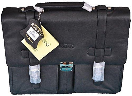 Roberto Luxus Leder Business Aktentasche Laptoptasche Notebook Tasche, Schwarz