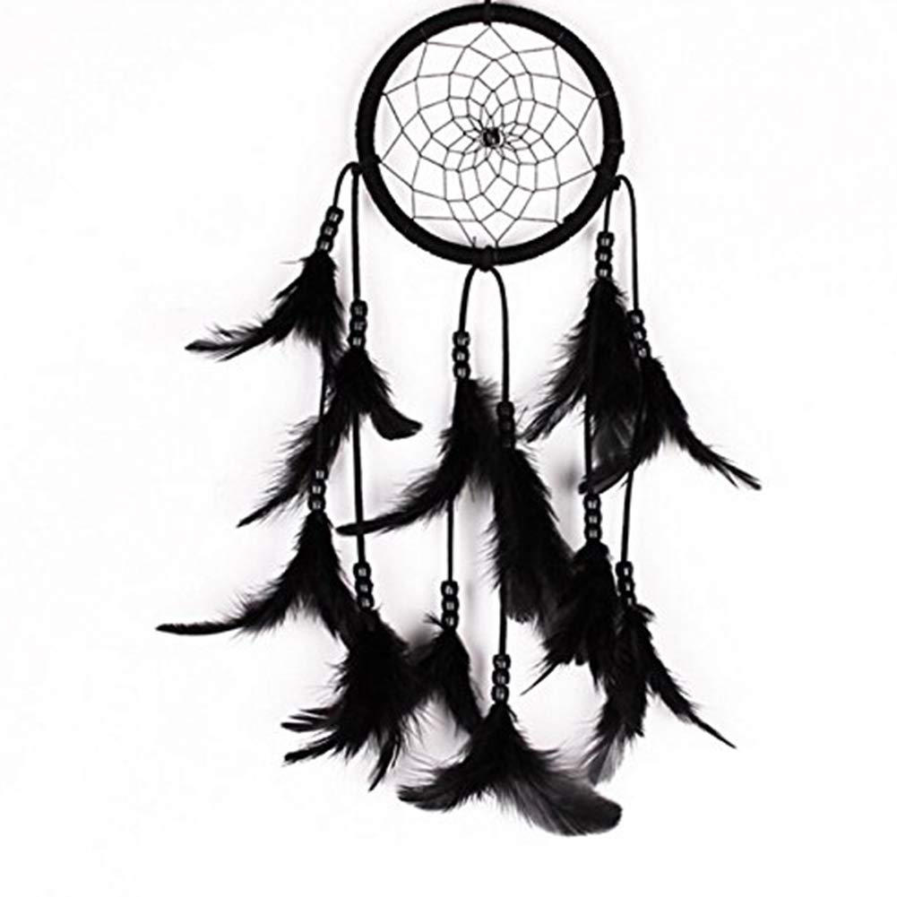 YaptheS Feather Dreamcatcher Handmade Dream Catcher Black Net with Feathers Beads Wall Hanging Decoration Office Supplies
