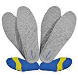 Mens Germanium Enabled Functional Anti-Fungal Anti-Odor PU Foam Insoles Circulation Inserts with Cushioned Arch Heel Support for Greater Comfort & Sole Pain Relief (9.5-2 Pairs)