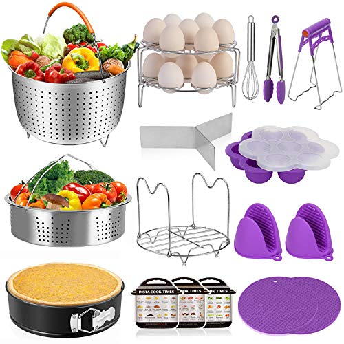 18 Pcs Instant Pot Accessories Set Pressure Cooker Accessories Set Suit for 6, 8 Qt -Steamer Baskets Springform Pan Egg Steamer Rack Egg Beater Silicone Trivet Mats Oven Mitts Tongs Dish Clip,ROMEKER