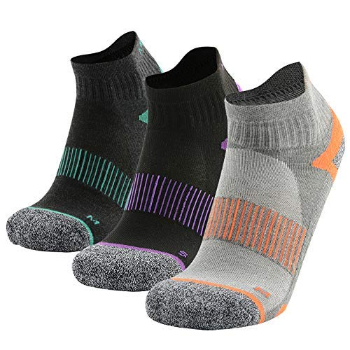 MEIKAN Hiking Quarter Socks, Youth Breathable Comfort Soft Athletic Cushion Anti Blister Outdoor Crew Socks 3 Pairs (Multicolor, Medium) Arch Support Casual Crew Socks
