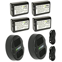 Wasabi Power Battery and Dual Charger for Sony NP-FW50 (4 BATTERIES + 2 CHARGERS)