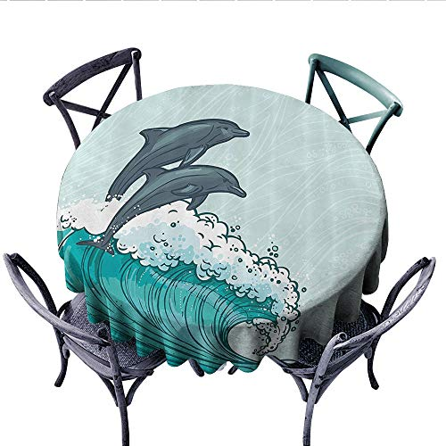 (Dolphin Sea Animals Washable Tablecloth Two Surfing Dolphins in Waves Water Sketch Sea Ocean Summertime Print Table Cover for Kitchen (Round, 50 Inch, Aqua Blue Grey))