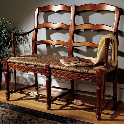 French Rush Seat Bench (Design Toscano French Provincial Settee Loveseat)
