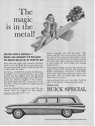 Magazine Print Ad: 1961 Buick Special Wagon, 155 hp Aluminum Fireball V-8 Engine,