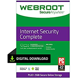 Webroot Internet Security Complete with Antivirus Protection | 10 Device | 1 Year Subscription | PC Download