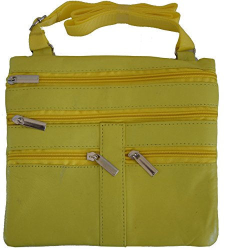 Yellow Ladies Genuine Leather Cross Body Bag Satchel Messenger Bag 48'' Strap by Wallet (Image #1)