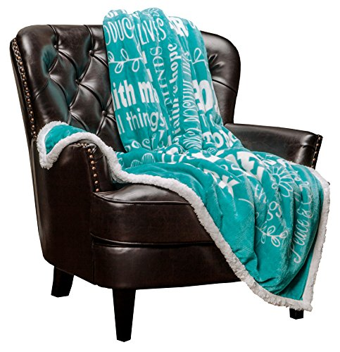 Chanasya Hope and Faith Inspirational Message Print Super Soft Ultra Plush Cozy Fleece Microfiber Sherpa Posivite Energy Comfort Caring Uplifting Gift Throw Blanket - for Women Men - Teal Blue Blanket by Chanasya