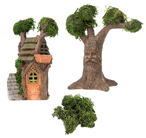 Enchanted Fairy Garden Kit (Miniature Fairy Garden DIY Enchanted Tree House & Magical Tree with Face Kit)