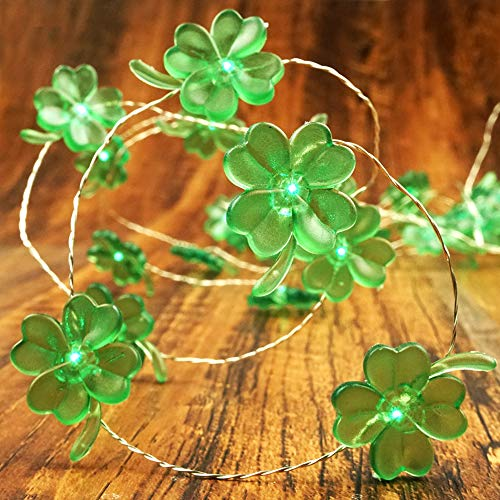 BOHON Decorative Lights Shamrocks LED String Lights Battery Operated with Remote 10 ft 40 LEDs Lucky Clover Handmade String Lights for Bedroom Party Feast of St. Patrick's Day Green Decoration ()