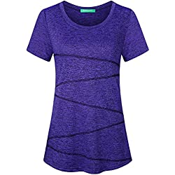 Kimmery Petite Tops for Women, Short Sleeve Quick Dry Tunic Comfortable Crew Neck Training Workout Exercise Weightlifting Active Shirt Fitness Feminine Base Layer Flowy Space Dye Grape Medium